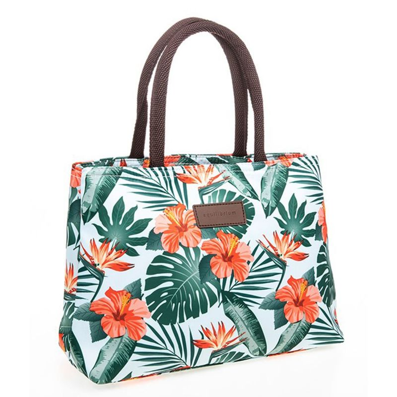 Tropical Hibiscus Waterproof Beach Grab Tote Hand Holiday Bag